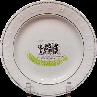 1840 Rare Pearlware Spongeware Conundrum Alphabet ABC Plate ~ Arithmetic