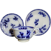 Staffordshire Childs Miniature FLOW BLUE 3Pc Tea Set ~ Forget Me Not FLOWERS 1828