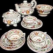 Scarce Polychrome Miniature Tea Set Godwin No 26 Hong Kong c1845 Staffordshire
