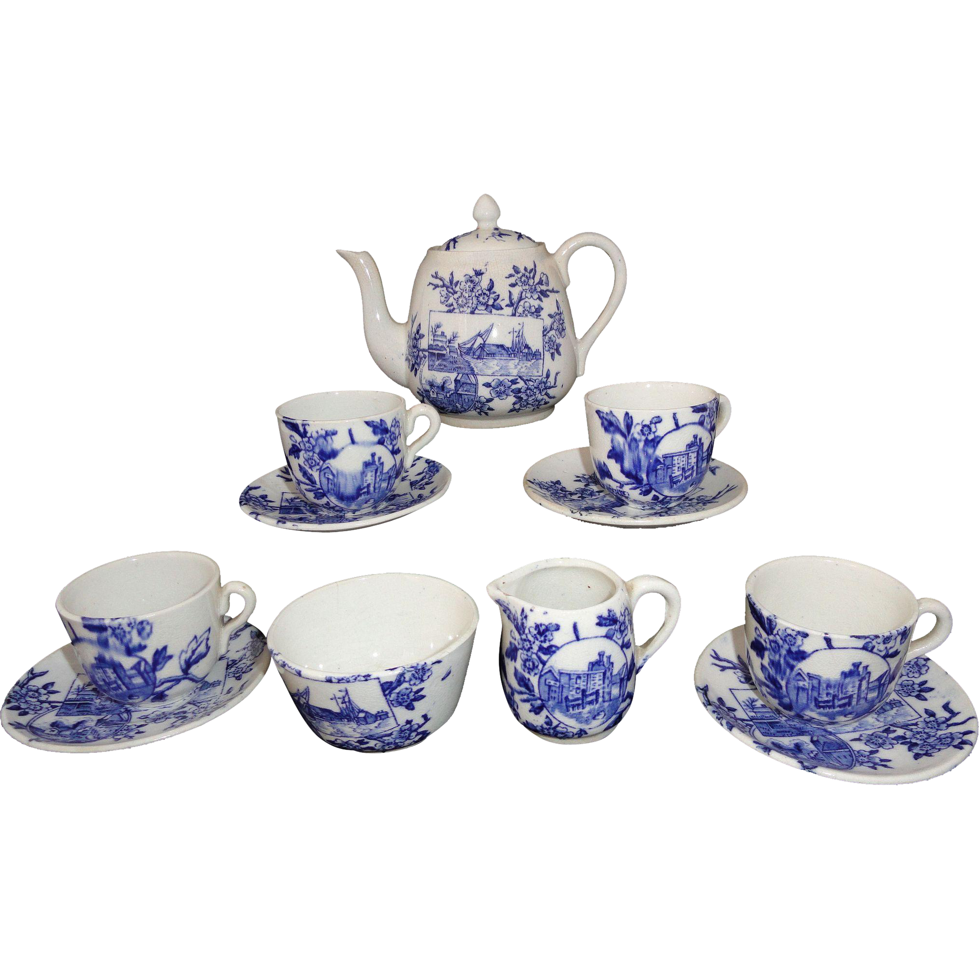 Childs Cobalt Blue Aesthetic Transferware Tea Set SEA VIEW Staffordshire 1895