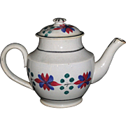 Pearlware Painted Brushstroke Child's Miniature Teapot Staffordshire c 1820