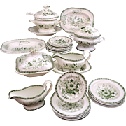 c1840 Miniature Dinner Set DRESDEN FLOWERS Minton Staffordshire Childs Dollhouse