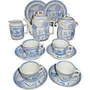 Staffordshire Blue Childs Tea Set ~ Reindeer Stag Allerton c1890