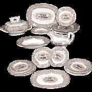 Rare Miniature GYPSY GIPSY 20pc Dinner Set Ridgway Morley 1840 Staffordshire Brown Transferware