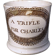 Early Staffordshire Childs Pearlware Christening Cup Mug CHARLES c1830