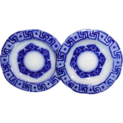 Pair of Flow Blue Toy Plates 3.5 inch Greek Key Kaleidoscope 1820 Staffordshire