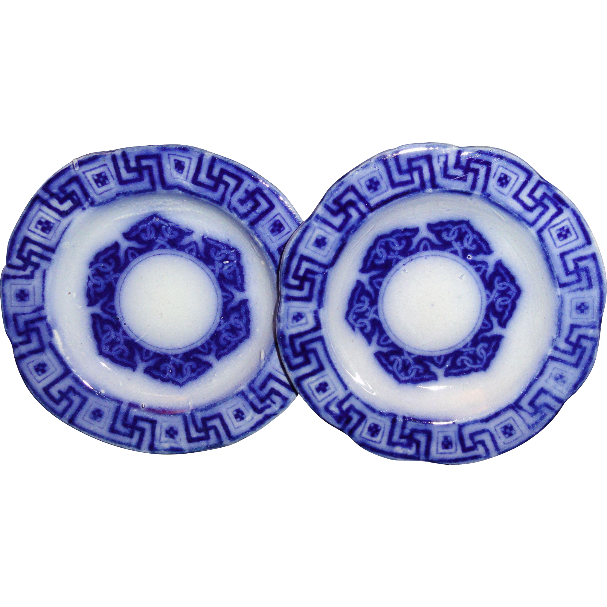 Pair of Flow Blue Toy Plates 3.5 inch Greek Key Kaleidoscope 1820 Staffordshire