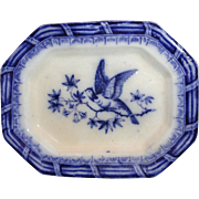 Flow Blue Miniature Platter 1840 Asiatic Bird Staffordshire Meigh Wings Up