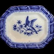 Flow Blue Miniature Platter 1840 Asiatic Bird Staffordshire Meigh Wings Up