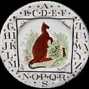 abc Alphabet KANGAROO Plate ~ 1880