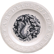 Staffordshire ABC Plate Squirrel with Acorn Nuts Alphabet Pearlware 1890