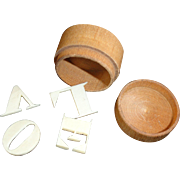 1860 Early LOVE TOKEN Carved Bone Alphabet Letters in a Tiny Round Lidded Box