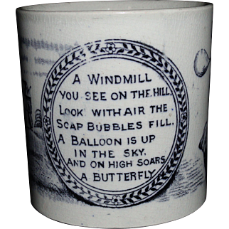 Staffordshire Childs Mug Hot Air Balloon Butterfly Bubbles Windmill 1870