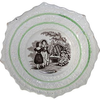 Staffordshire Childs BEEHIVE INDUSTRY Pictorial Plate 1847 Tranfserware