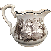 Childs Transferware Creamer Milk Jug CHILDHOOD AMUSEMENTS Staffordshire 1830