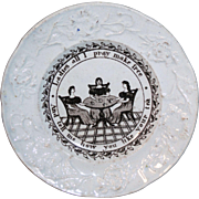 Rare Historical Staffordshire Child Plate Womens Suffrage c1865 Ladies Tea Party
