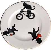 Set BLACK CATS MOUSE BICYCLE Childs Plates c1915 Allerton Staffordshire England