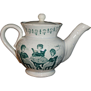 Miniature Historical Staffordshire Teapot Ladies Tea Party Womens Suffrage c1870