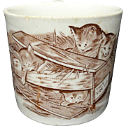 Antique ABC Mug ~ Cats Kittens Cup 1880