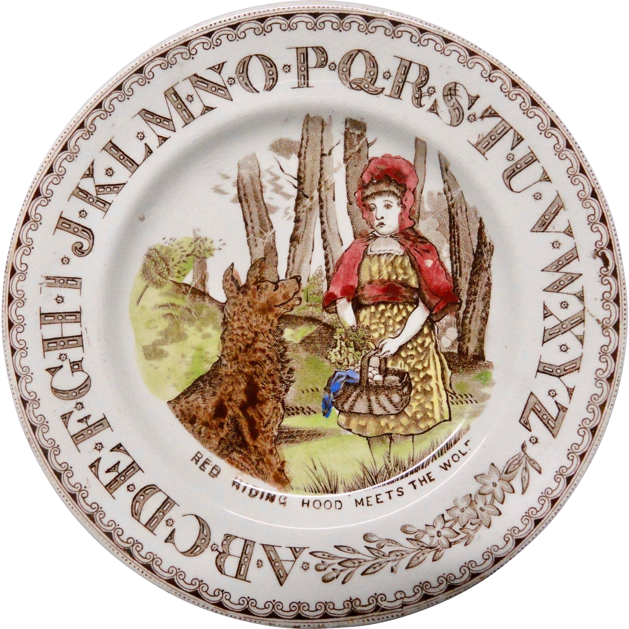 Staffordshire Alphabet ABC Plate ~ Red Riding Hood & Wolf ~ 1880