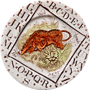 Staffordshire Child's  ABC Plate ~ The TIGER 1880