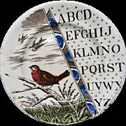 Staffordshire ABC Pearlware Plate ~ ABC ROBIN ~ 1880