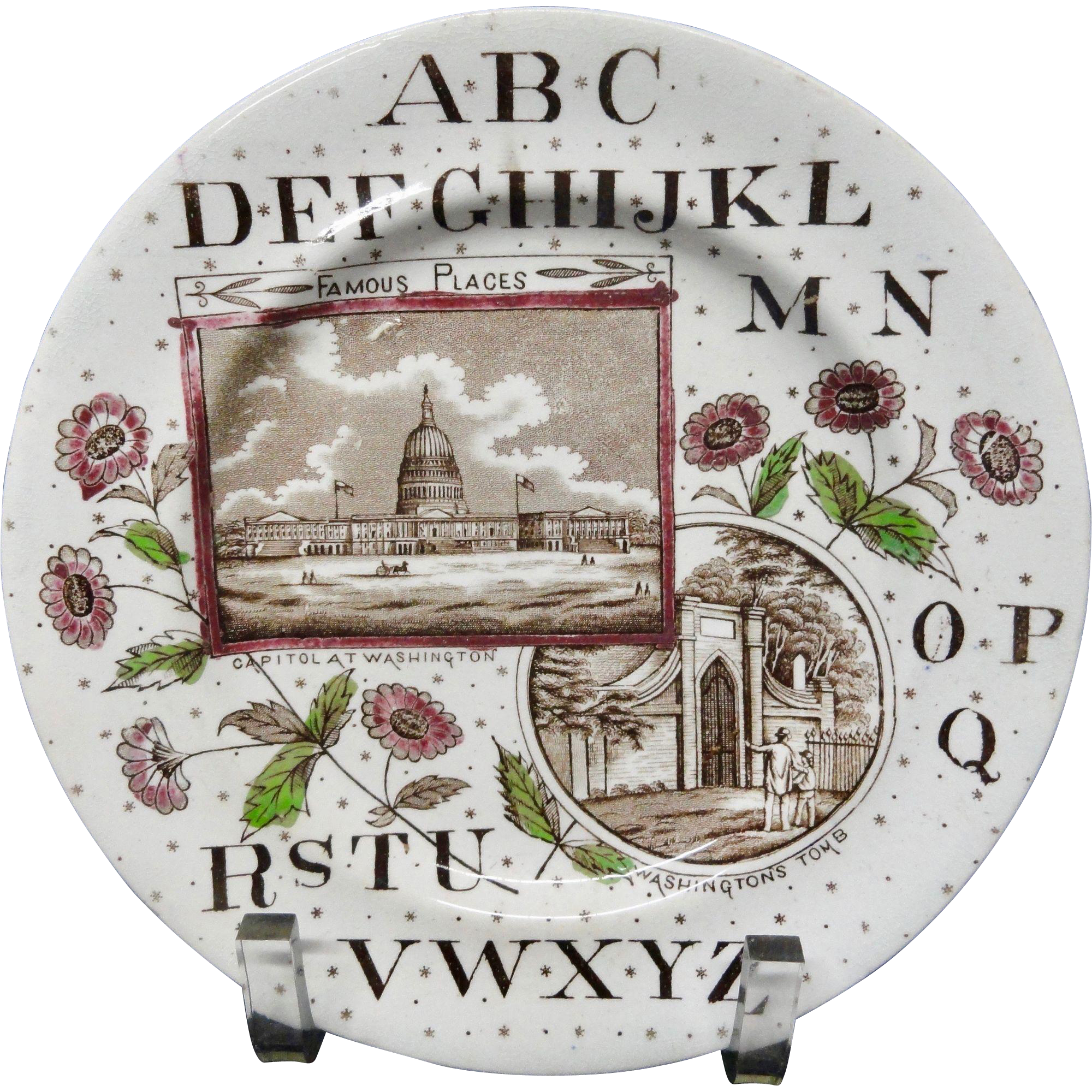 Staffordshire Historical Alphabet Plate ~ Washington ~ 1880