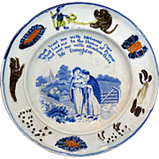Pearlware Child's Plate ~ My Daughter ~ 1820 ~ Animal Border