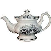 Early English Childs Miniature Teapot COUNTRY LIFE c 1850 Staffordshire Transferware