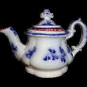 Child Miniature FLOW BLUE Lidded Teapot FORGET ME NOT Flowers 1828 Staffordshire