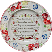 Early Victorian Pearlware Child's Plate ~ Remember Me ~ 1820 ~ Flower Border