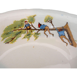 Palmer Cox BROWNIES ON A LIMB Childs Toy Vege Bowl 1900 Taylor Smith Taylor USA
