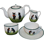 Rare BLACK CATS Rare Childs Porcelain Tea Set Germany c1900