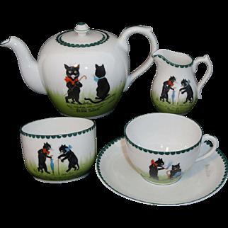Rare BLACK CATS Rare Childs Porcelain Tea Set Germany c1900