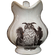 Rare SCREECH OWL Childs Sepia Brown Transferware Jug Staffordshire 1850 BIRDS