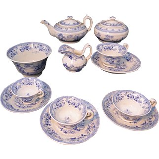 Rare Early Blue Pearlware Childs Tea Set CHINOISERIE Lady in Gazebo ~ Fishing Boat  England c 1830