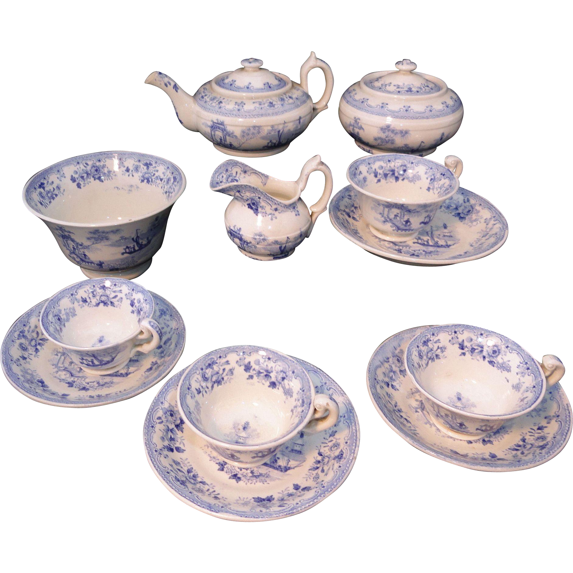 Rare Early Blue Pearlware Childs Tea Set NAPIER Lady in Gazebo ~ Fishing Boat Transferware