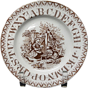 Antique ABC Alphabet Brown Transfer Plate ~ Tea Time ~ 1890