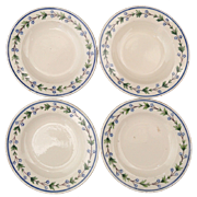 4 Miniature Villeroy Boch Vaudrange Pearlware Decorated Plates Brushstroke 1800