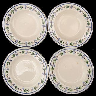 4 Miniature Villeroy Boch Vaudrange Pearlware Decorated Plates Brushstroke 1800