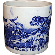 Early Staffordshire Childs Transferware Mug DOGS RACING FOR A BONE c1860