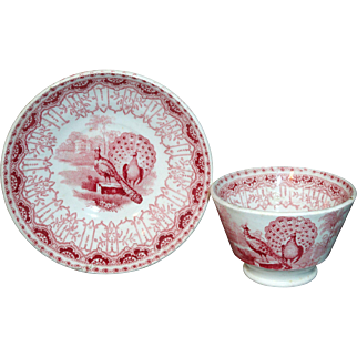 Staffordshire Childs Red Teaset Cup and Saucer PEACOCK Benj Godwin 1830
