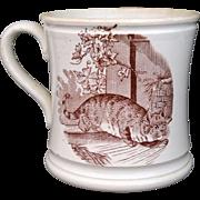 c1860 CROUCHING CAT Cider Mug Staffordshire Transferware Tankard