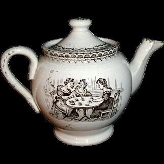 Miniature Historical Staffordshire Teapot Ladies Tea Party Womens Suffrage c1870