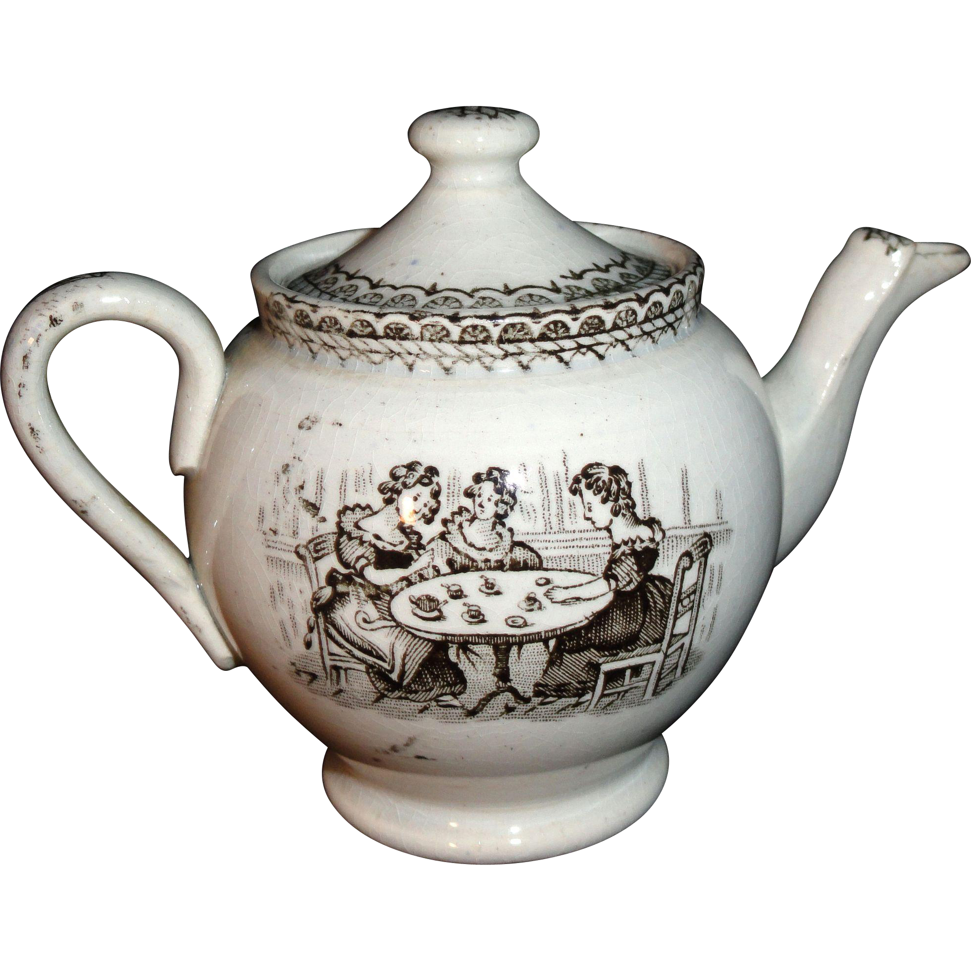 Miniature Historical Staffordshire Teapot Ladies Tea Party