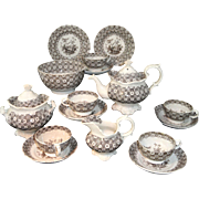 Early Staffordshire Rococo Childs Tea Set BUTTERFLY Samuel Alcock Staffordshire, England c 1830