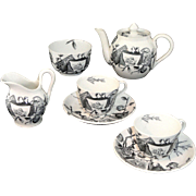 Rare Aesthetic Movement Miniature Tea Set POMEGRANITE 1875 Grove & Stark Staffordshire