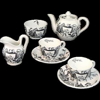 Rare Aesthetic Movement Miniature Tea Set POMEGRANITE 1875 Grove & Stark Staffordshire