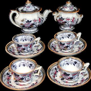 Childs Flow Blue Polychrome Ironstone Tea Set CANDIA  Wedgwood & Co Staffordshire England  c1860