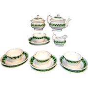 Miniature Hand Decorated Brushstroke Tea Set Pearlware c1840